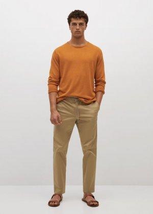 Укороченные брюки straight из хлопка - Monaco Mango. Цвет: бежевый