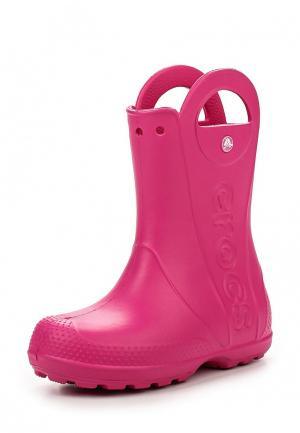 Резиновые сапоги Crocs Handle It Rain Boot Kids. Цвет: розовый