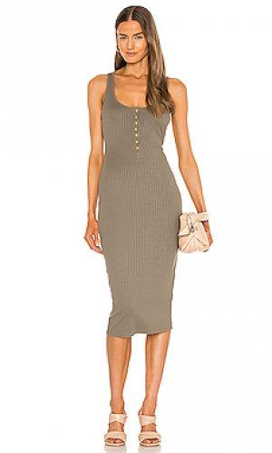 Платье миди juliet MAJORELLE. Цвет: оливковый
