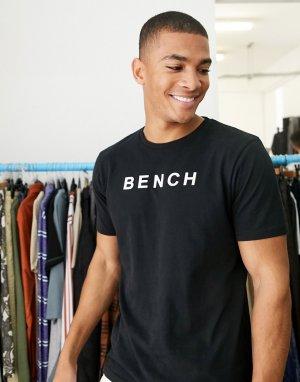 Черная oversize-футболка с принтом -Черный Bench
