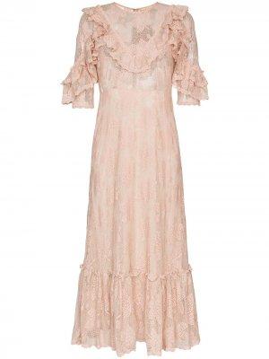 Платье миди с оборками и кружевом byTiMo. Цвет: розовый