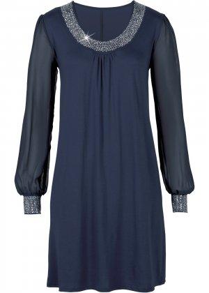 Платье с аппликациями из стразов bonprix. Цвет: синий