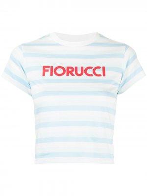 Полосатая футболка с логотипом Fiorucci. Цвет: синий