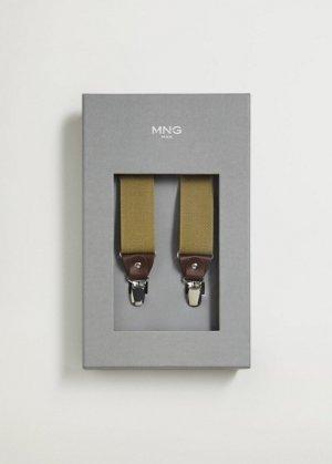 Эластичные подтяжки с кожаными деталями - Suspende Mango. Цвет: бежевый