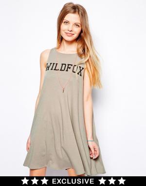 Платье-майка с надписью Sports Wildfox. Цвет: винтажный серый
