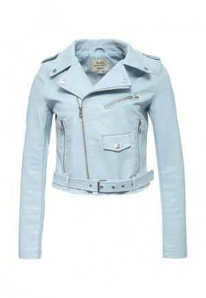Куртка кожаная Softy SO017EWROZ50. Цвет: голубой