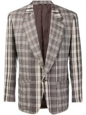 Пиджак в клетку Versace Pre-Owned. Цвет: зеленый