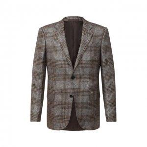 Пиджак из шелка и кашемира Ermenegildo Zegna. Цвет: коричневый