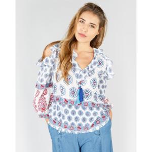 Блузка с воланами, кашемировым рисунком и длинными рукавами DERHY. Цвет: экрю/рисунок