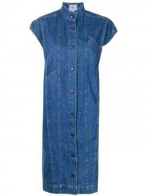 Джинсовое платье-трапеция с короткими рукавами Fendi Pre-Owned. Цвет: синий