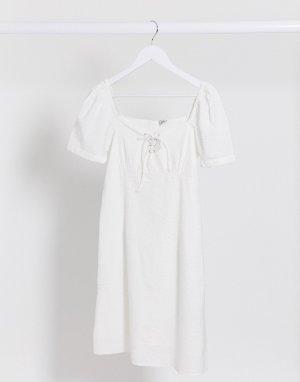 Белое летнее платье с пышными рукавами -Белый Pimkie