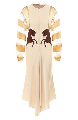 Платье-миди Chloé. Цвет: бежевый