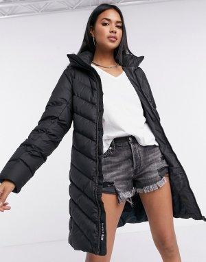 Черное узкое пальто с капюшоном -Черный G-Star