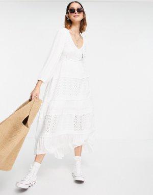 Платье макси Mockingbird-Белый Free People