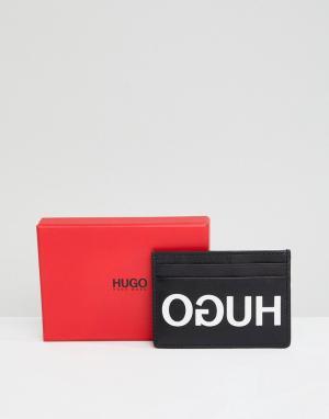 Черная кожаная визитница с логотипом -Черный HUGO