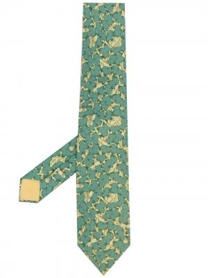 Галстук 2000-х годов с цветочным принтом Hermès. Цвет: зеленый