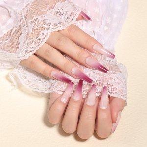 24шт омбре Накладные ногти & 1шт пилочка для ногтей 1 лист лента SHEIN. Цвет: красный фиолетовый