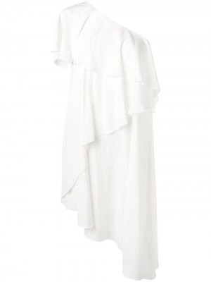 Асимметричное платье с оборками LANVIN. Цвет: белый