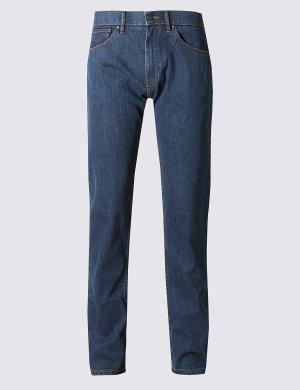 Зауженные джинсы Water Resistant M&S Collection. Цвет: умеренный синий