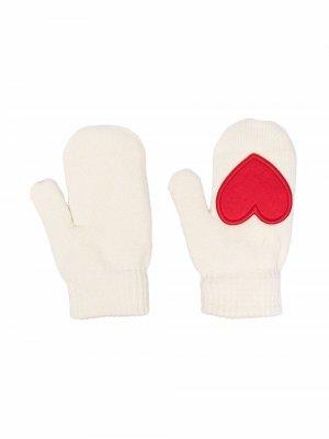 Трикотажные перчатки с нашивкой Mini Rodini. Цвет: нейтральные цвета