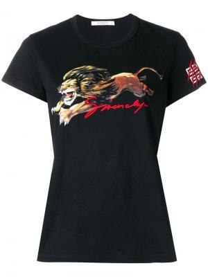 Приталенная футболка с принтом Leo Givenchy. Цвет: черный