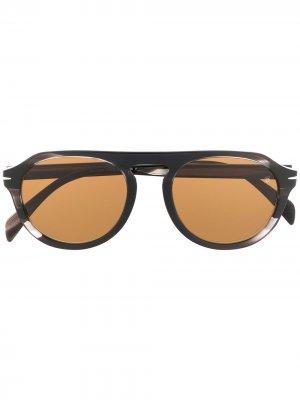 Солнцезащитные очки 7009/s в круглой оправе Eyewear by David Beckham. Цвет: коричневый