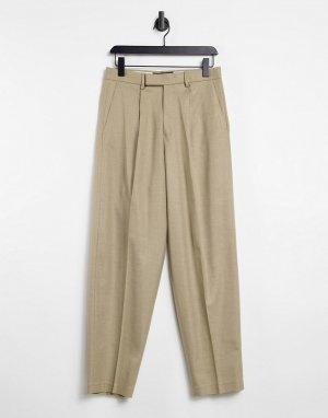 Бежевые брюки узкого кроя с завышенной талией -Бежевый ASOS DESIGN