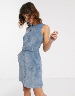 Синее вельветовое платье мини с поясом -Синий Esprit
