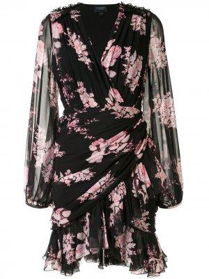 Платье с запахом и цветочным принтом Giambattista Valli. Цвет: черный