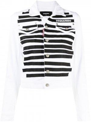 Джинсовая куртка в полоску Dsquared2. Цвет: белый