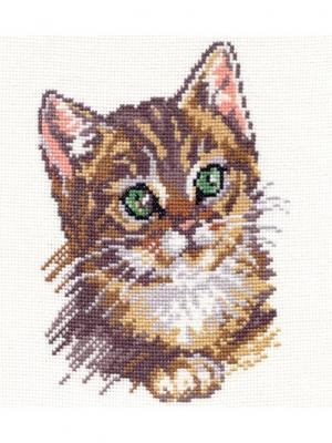 Набор для вышивания Котенок  14х18 см. Алиса. Цвет: бежевый, коричневый, светло-коричневый