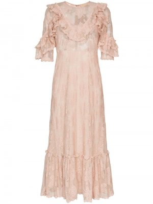 Платье миди с оборками и кружевом byTiMo