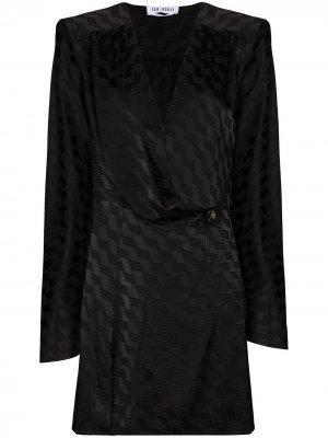 Жаккардовое платье мини The Attico. Цвет: черный