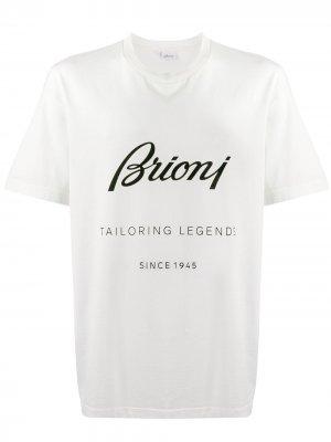 Футболка с логотипом Brioni. Цвет: белый