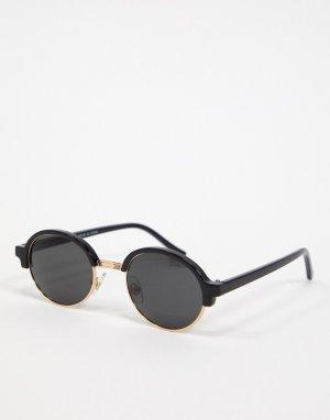 Черные солнцезащитные очки в овальной оправе ретро -Черный Topman