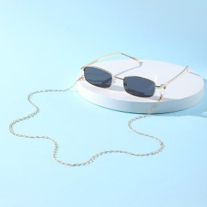 Мужские солнцезащитные очки в металлической оправе & цепочка для очков SHEIN. Цвет: серый