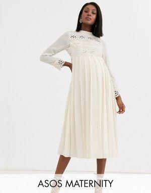 Светло-бежевое платье миди с кружевными вставками и плиссированной юбкой ASOS DESIGN Maternity-Кремовый Maternity