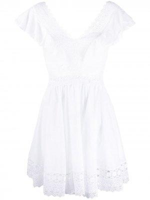 Поплиновое платье с кружевом Charo Ruiz Ibiza. Цвет: белый