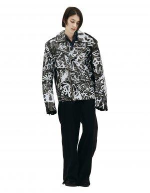 Черная кожаная куртка с графиити VETEMENTS