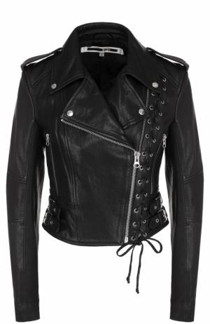 Кожаная куртка с косой молнией и декоративной шнуровкой MCQ. Цвет: черный