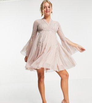 Декорированное платье мини с расклешенными юбкой и рукавами ASOS DESIGN Maternity-Розовый цвет Maternity