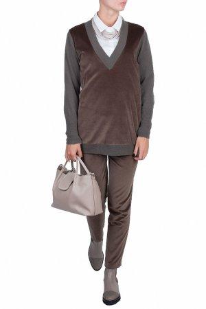 Серый пуловер с отделкой из бархата Fabiana Filippi