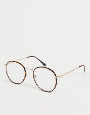 Солнцезащитные очки в черепаховой оправе с синими стеклами -Коричневый Quay Australia