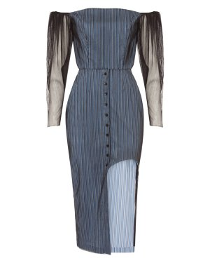 Платье SS19-004 44/46 черный+синий Alina German. Цвет: черный+синий