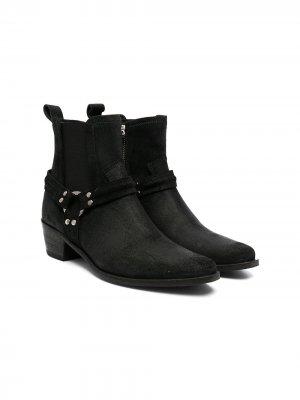 Ботинки с заостренным носком и пряжками Cinzia Araia Kids. Цвет: черный