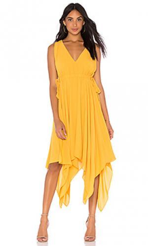 Платье миди BCBGMAXAZRIA. Цвет: горчичный