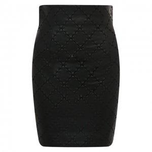 Кожаная юбка Balmain. Цвет: чёрный