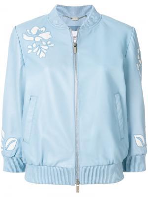 Куртка-бомбер с вырезными деталями Blugirl. Цвет: синий
