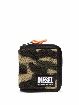 Кошелек из шерпы с круговой молнией Diesel. Цвет: зеленый