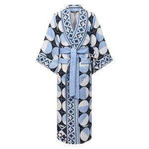 Льняной халат Dolce & Gabbana. Цвет: синий